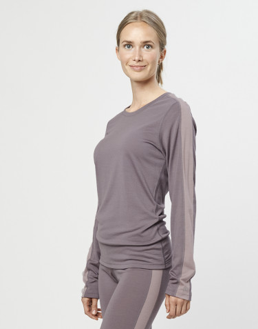 Women's exclusive organic merino wool long sleeve base layer- lavender grey