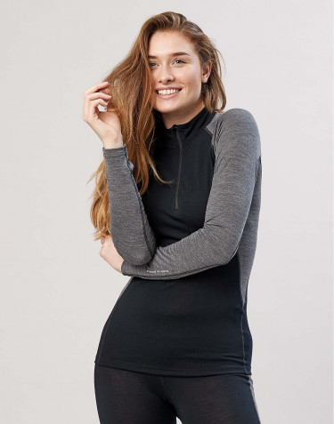 Women's exclusive organic merino wool top with zip- Black