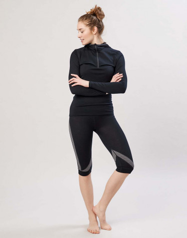 Women's exclusive organic merino wool 3/4 leggings- Black