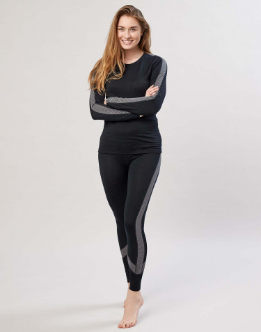 Women's exclusive organic merino wool leggings- Black