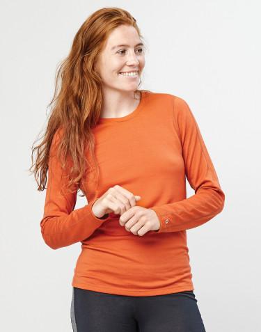 Women's exclusive organic merino wool long sleeve base layer- Orange