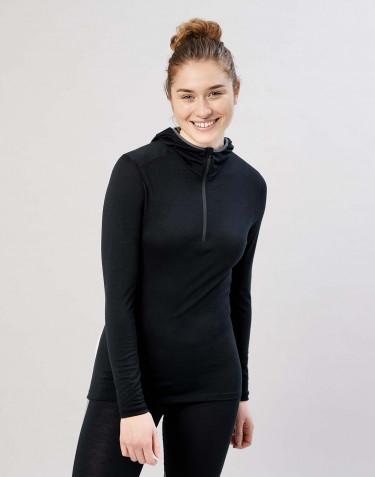 Women's exclusive organic merino wool hooded top- Black