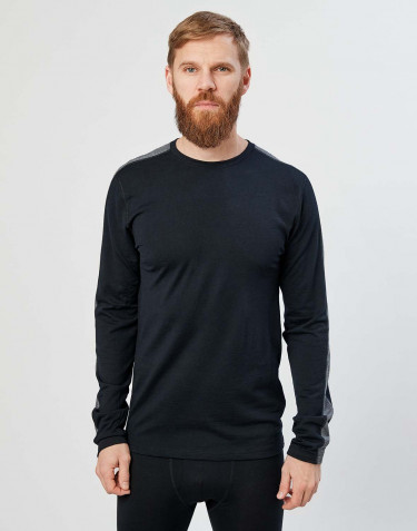 Men's exclusive organic merino wool long sleeve top- black