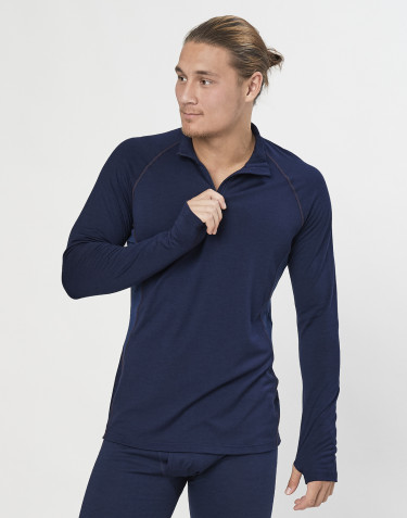 Men's exclusive organic merino wool long sleeve top with zip- Navy