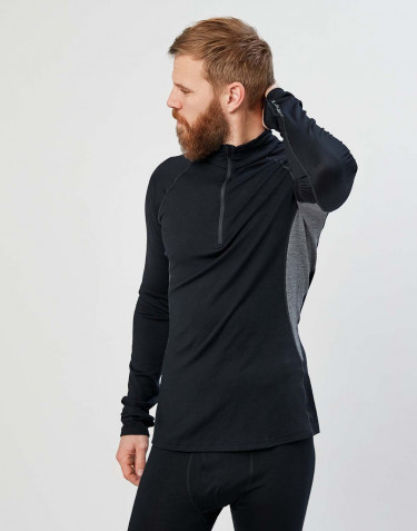 Men's exclusive organic merino wool long sleeve top with zip- Black