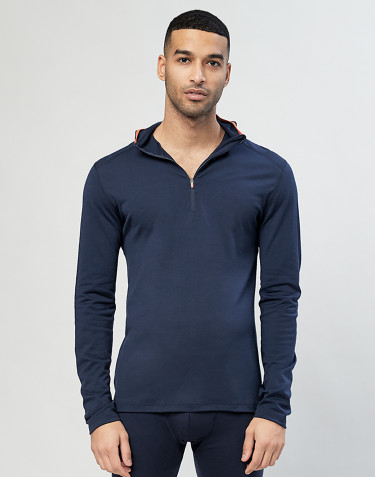 Men's exclusive organic merino wool hooded top- Navy