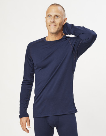 Men's exclusive organic merino wool top- Navy