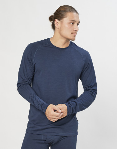 Men's exclusive organic merino wool top- Grey Blue