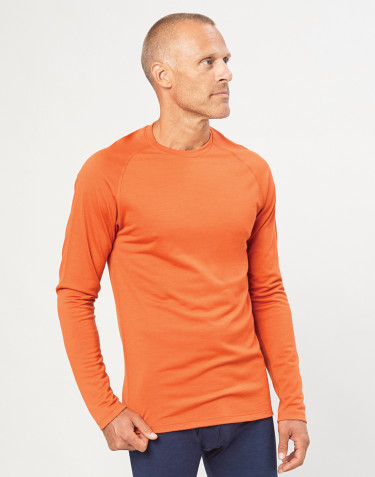 Men's exclusive organic merino wool top- Orange