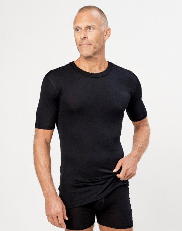 Men's merino wool/silk T-shirt- black