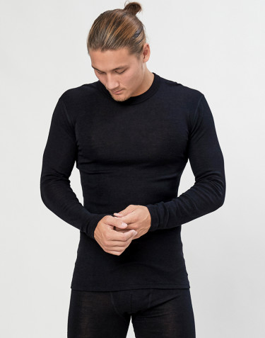 Men's long sleeve merino wool/silk top- black