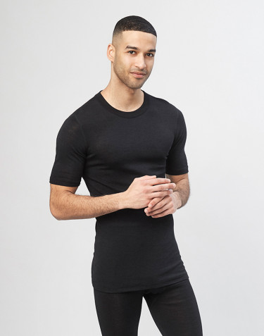 Men's merino wool/silk t-shirt black