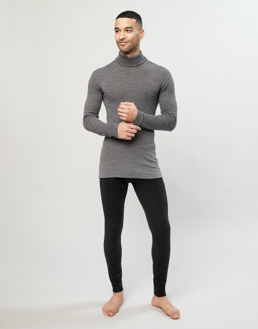 Men's organic merino wool/silk long johns with fly - black