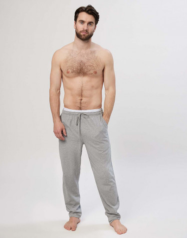 Men's cotton pyjama bottoms- grey melange