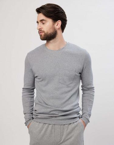 Men's long-sleeve cotton pyjama top- Grey melange