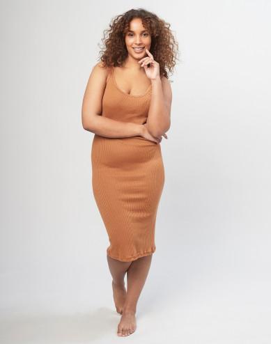 Women's strap rib dress- Caramel