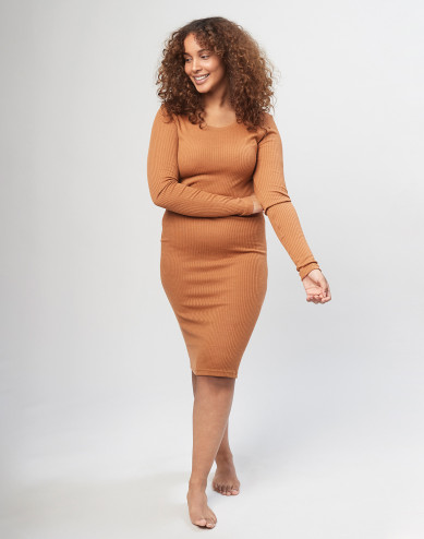 Women's long sleeve rib dress - Caramel