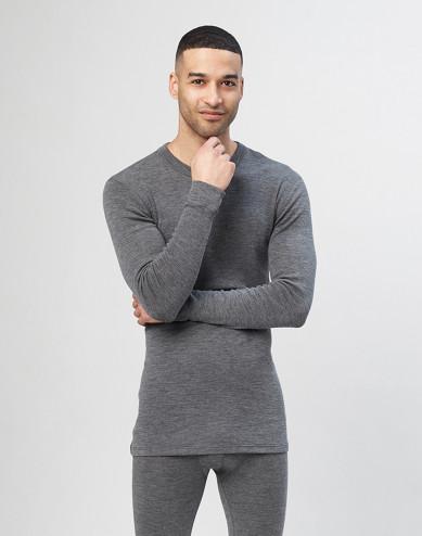 Men's long sleeve merino wool top - grey