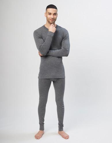 Men's merino wool long johns - grey