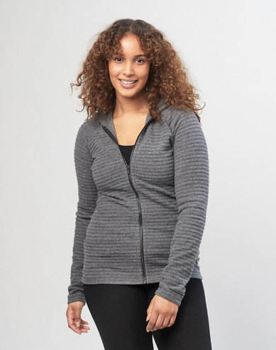 Women's bubble stripe wool fleece- Dark Grey Melange
