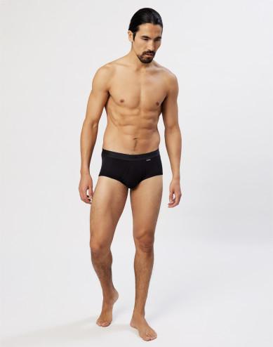 Men's premium classic cotton briefs with fly- black