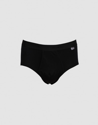 DILLING men's plus size cotton briefs with fly- black
