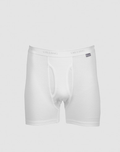 DILLING men's plus size cotton boxer shorts with fly- white