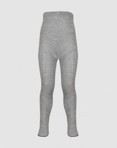 Baby hollow pattern wool tights- Grey melange