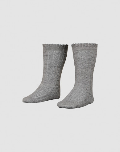 Children's knee high socks with hollow pattern- Grey melange