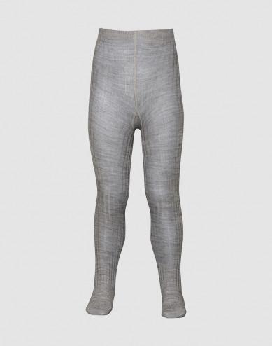 Children's organic merino wool rib knit tights- grey melange