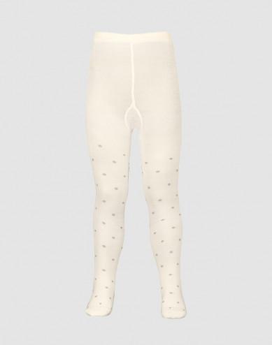 Children's organic merino wool tights- nature with dots
