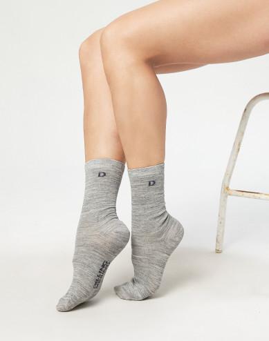 Women's organic merino wool socks- grey melange