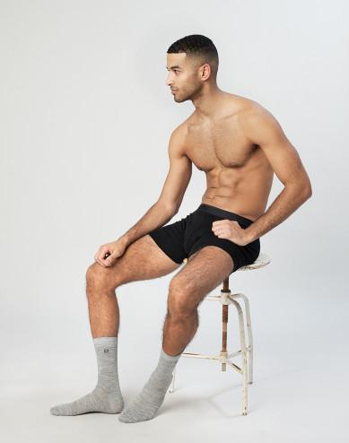 Men'sorganic merino wool socks- grey melange