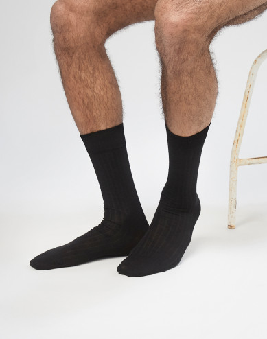 Men's ribbed merino wool socks- Black