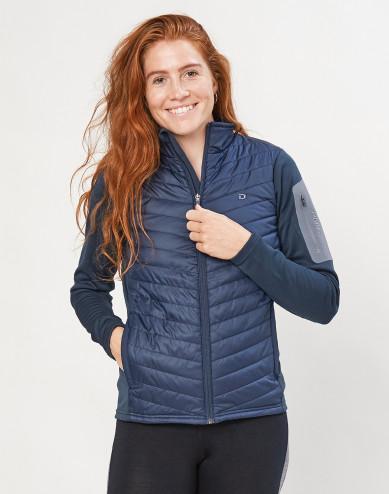 Women's recycled polyester/ merino wool hybrid jacket with zip- dark blue