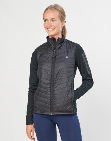 Women's recycled polyester/ merino wool hybrid jacket with zip- black