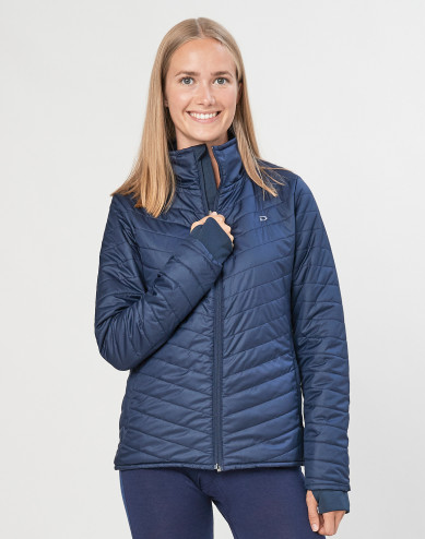 Women's recycled polyester/merino wool outdoor jacket- dark blue