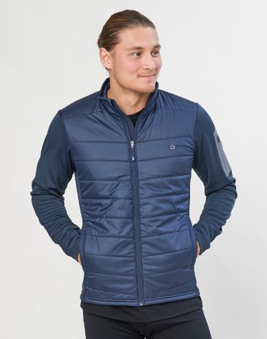 Men's merino/recycled polyester hybrid jacket with zip- dark blue