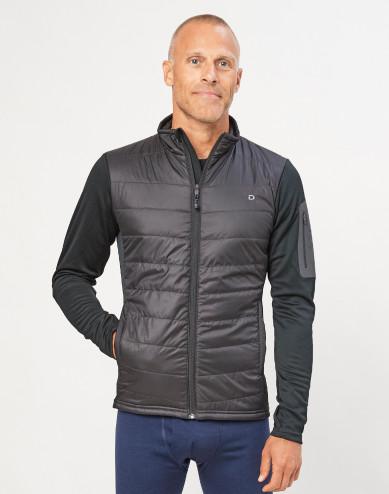 Men's merino/recycled polyester hybrid jacket with zip- black