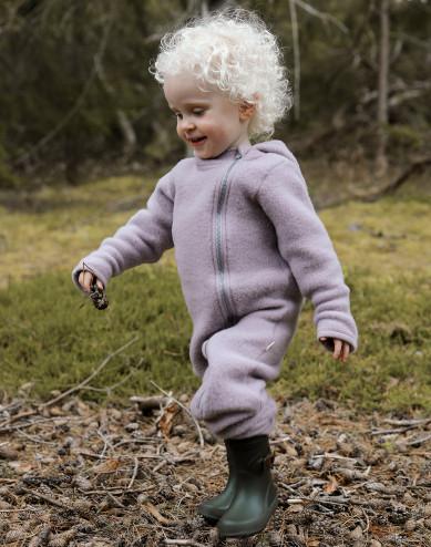 Baby merino wool fleece pramsuit