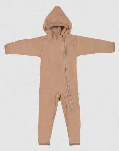 Baby merino wool fleece pramsuit- Cinnamon