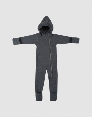 Baby merino wool fleece pramsuit- dark grey