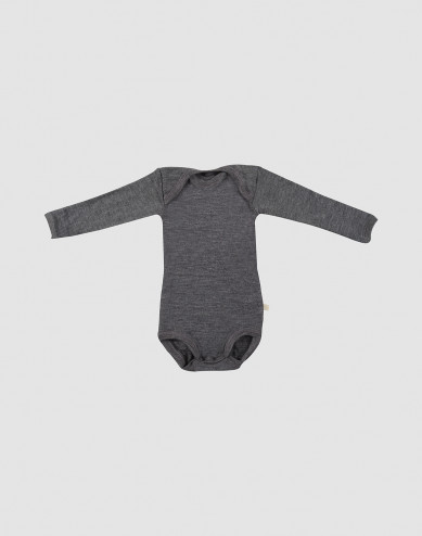 Baby long sleeve organic merino wool bodysuit- grey melange
