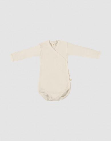 Baby merino wool wrap bodysuit- nature