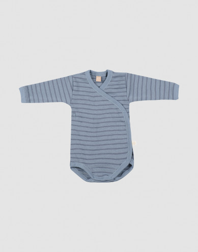 Baby merino wool wrap bodysuit-Blue Stripe