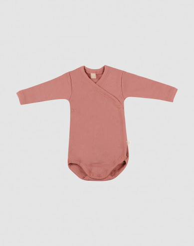 Baby merino wool wrap bodysuit- Pink