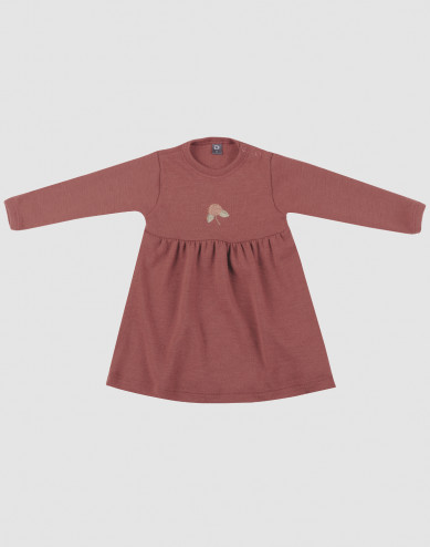 Baby merino wool dress- rouge