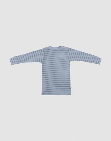 Baby merino wool long sleeve top- Blue Stripe