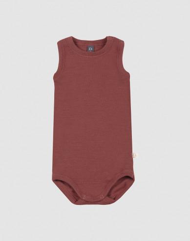 Baby sleeveless merino wool bodysuit- rouge