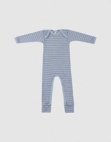 Baby merino wool bodysuit- Blue Stripe